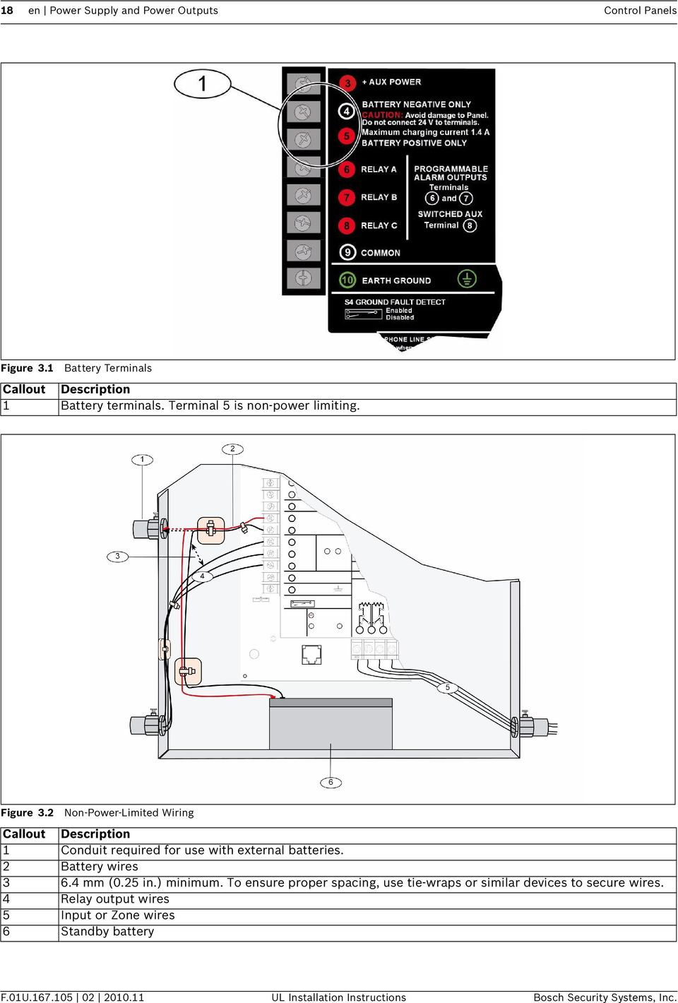 Control Panels D9412gv3 D7412gv3 D7212gv3 Ul Installation Battery Wiring Diagram V3 2 Non Power Limited Callout Description 1 Conduit Required For Use With External