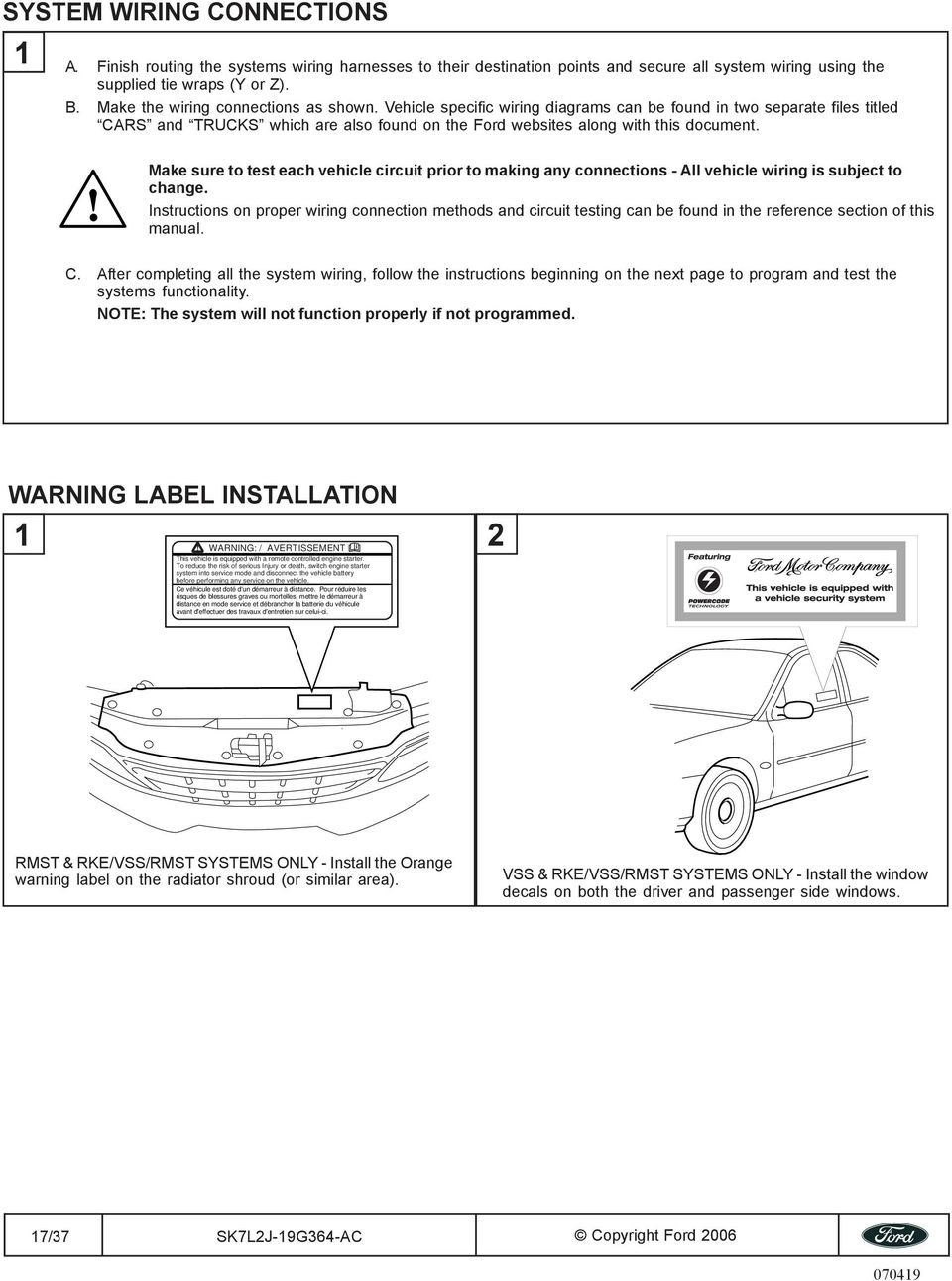 All Models 2007 Use Caution Pdf Ford Motor Company Wiring Diagrams Make Sure To Test Each Vehicle Circuit Prior Making Any Connections