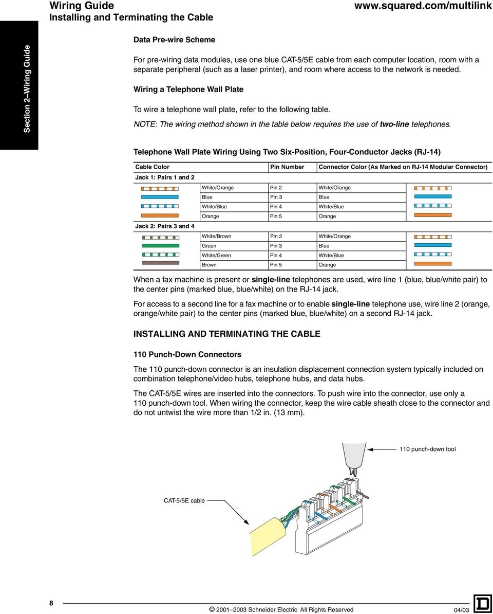 Square D Multi Link Structured Wiring System Pdf Wire As Well Cat 5 Cable Diagram On Telephone 5e Note The Method Shown In Table Below Requires Use Of Two