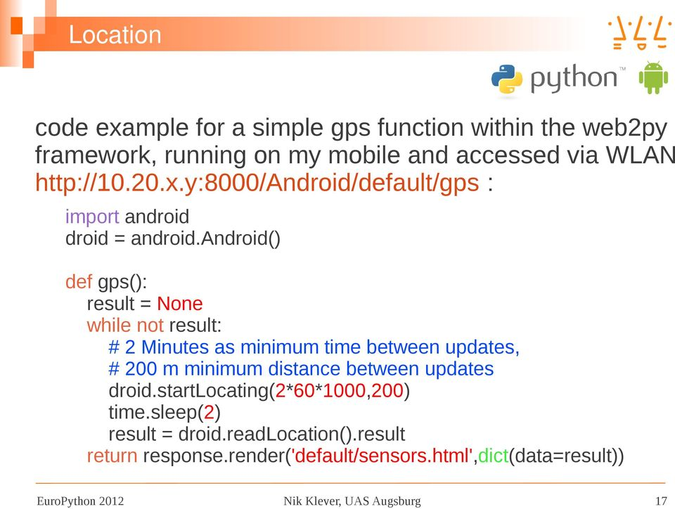 Some Experiences With Python For Android (Py4A) Nik Klever