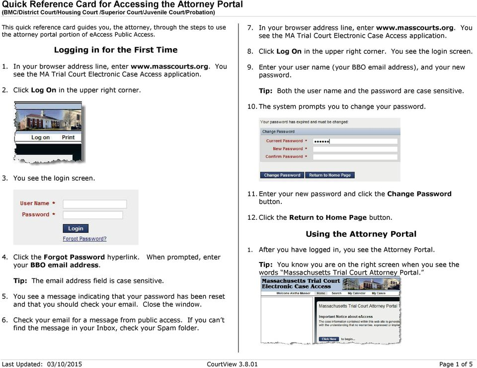 Quick Reference Card for Accessing the Attorney Portal (BMC/District