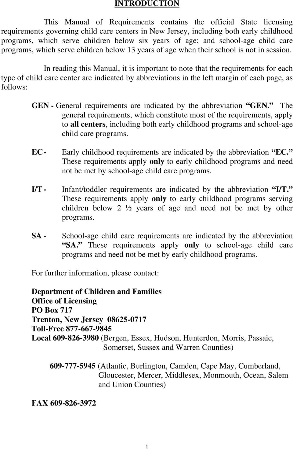Chapter 122 Manual Of Requirements For Child Care Centers Pdf