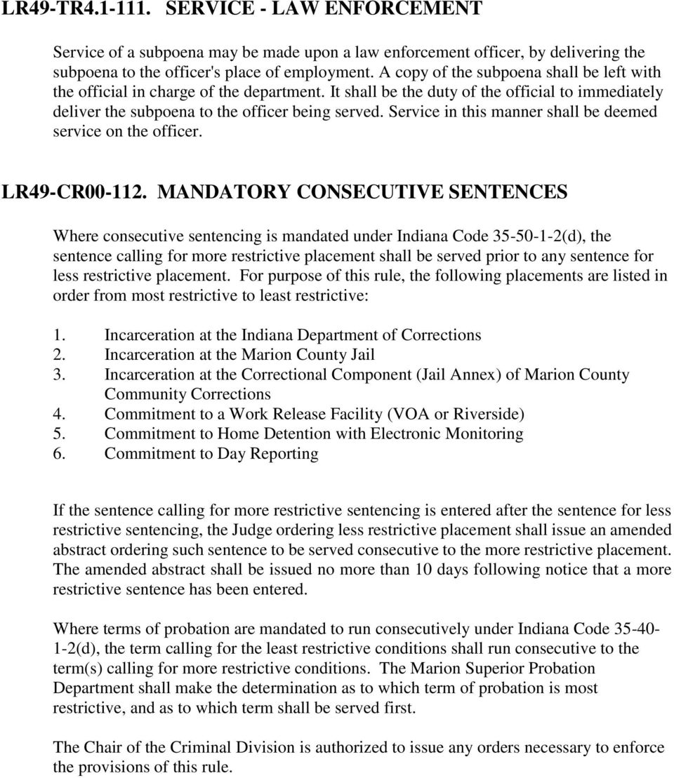 Marion County Local Court Rules INDEX - PDF