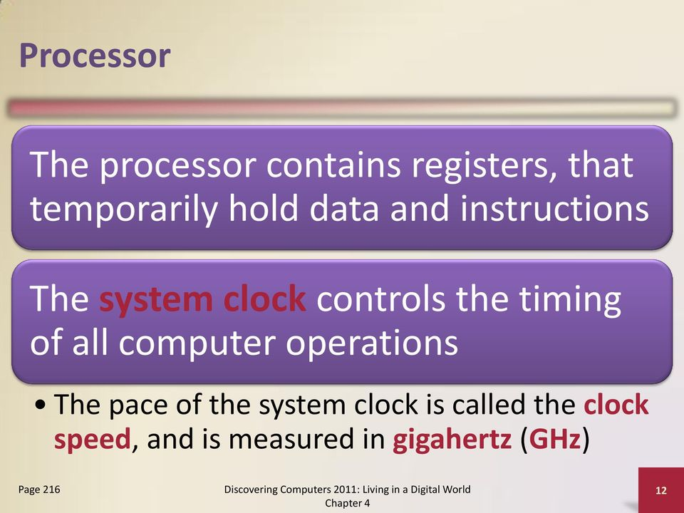 of all computer operations The pace of the system clock is