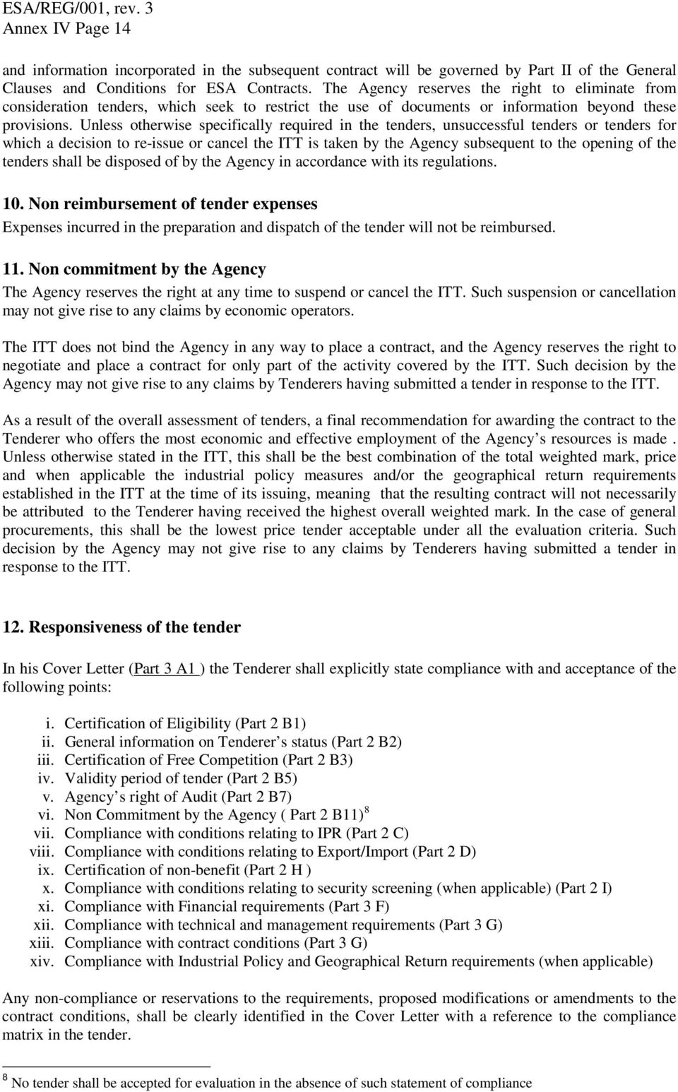 General Conditions of Tender For ESA Contracts - PDF Free ...