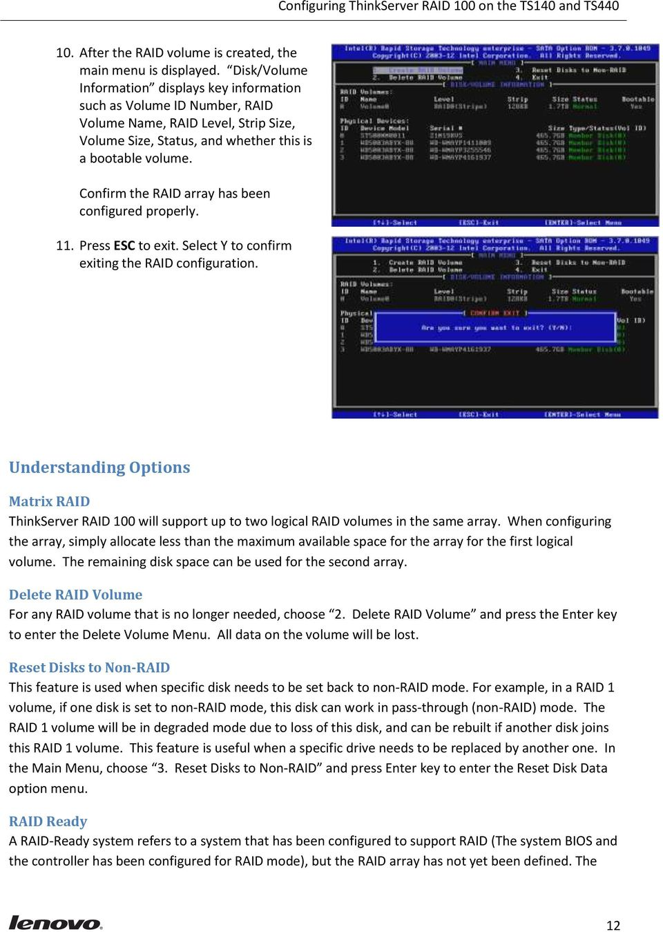 Configuring ThinkServer RAID 100 on the TS140 and TS440 - PDF