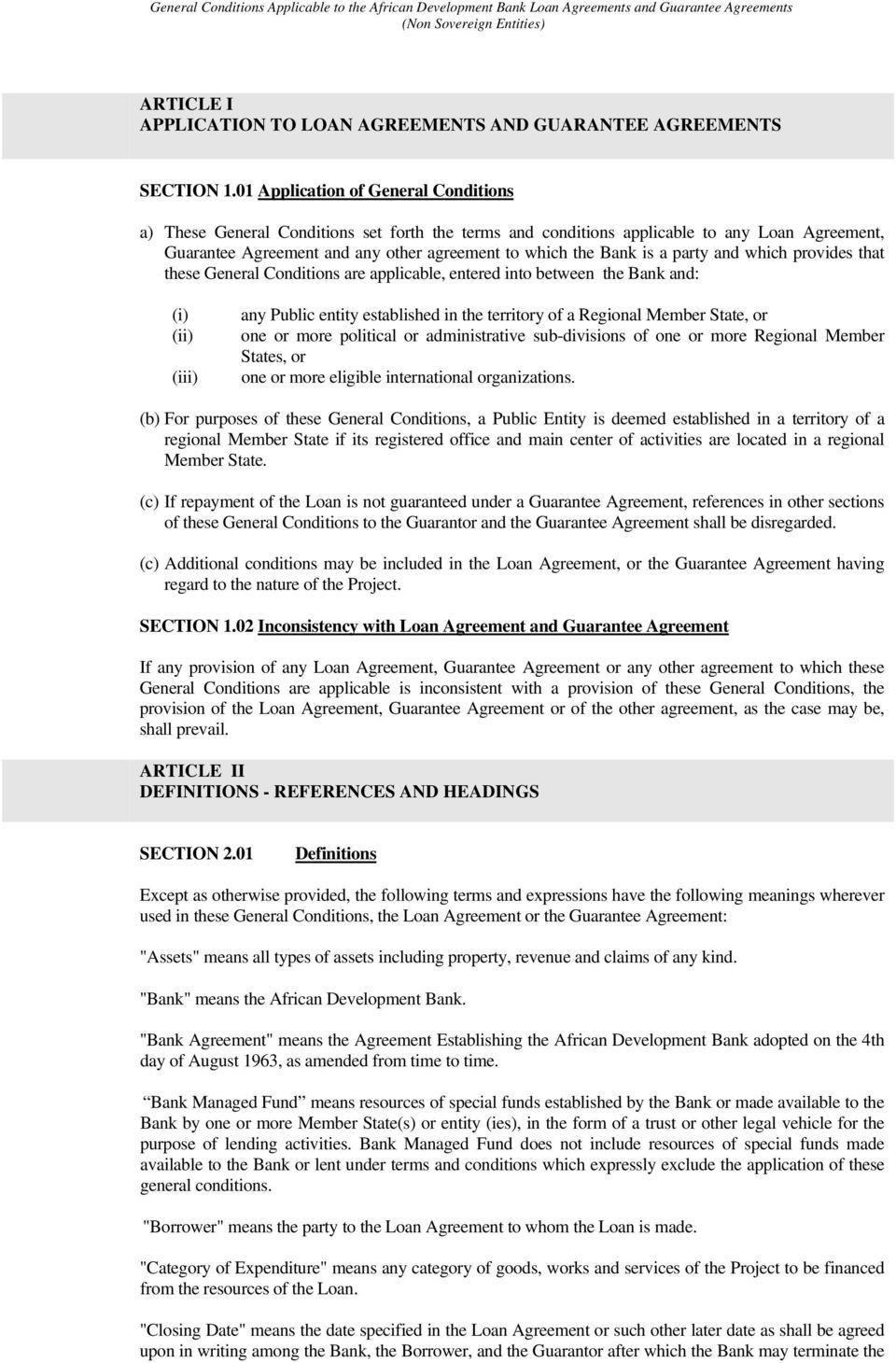 General Conditions Applicable to the African Development Bank Loan