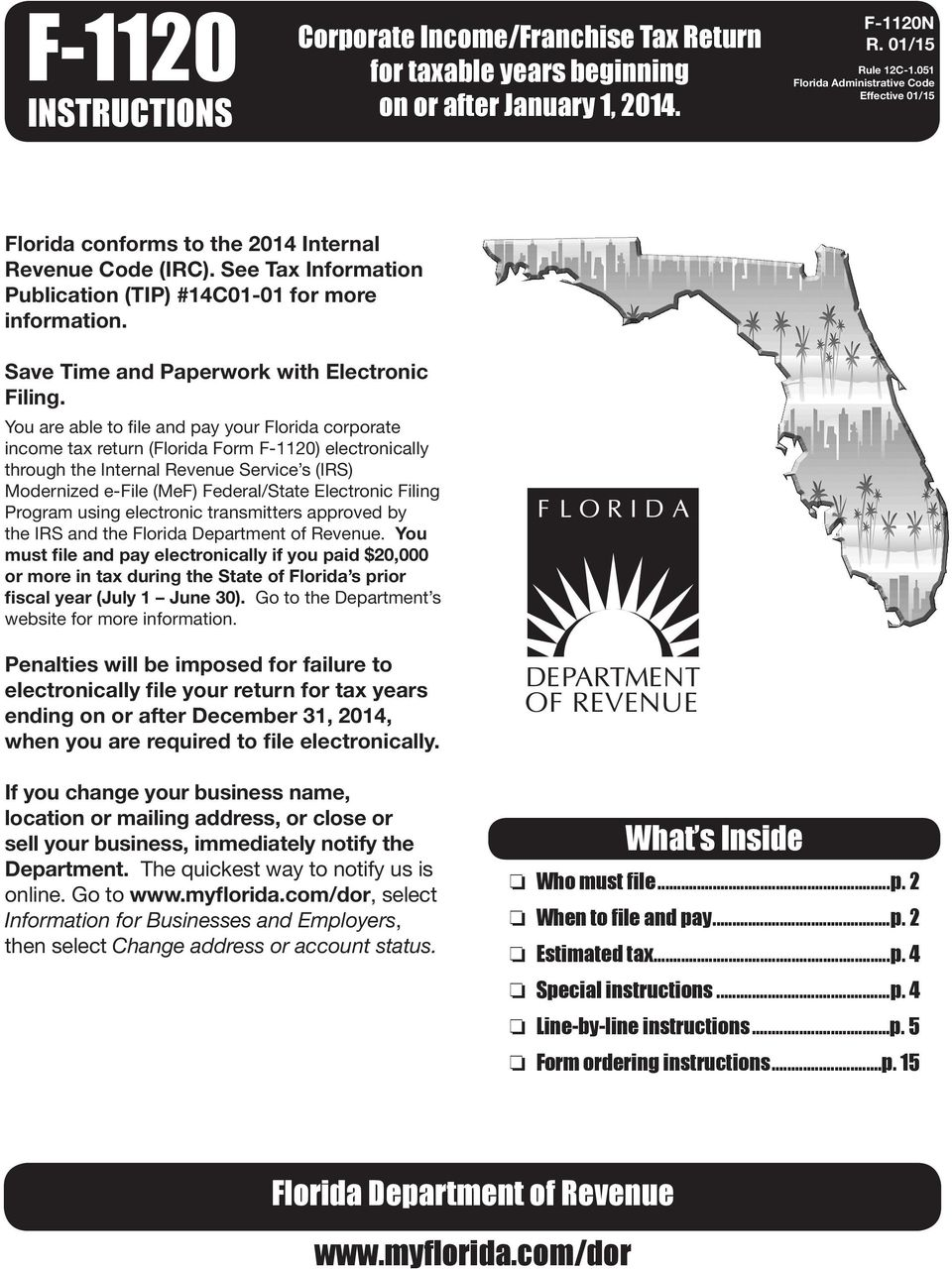 F 1120 Instructions What S Inside Florida Department Of Revenue Pdf