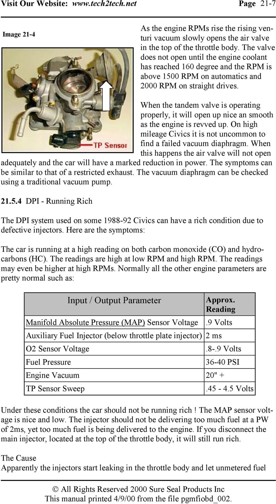 Module 21 Fuel Injectors Dual Point Injection Dpi Pdf Oxygen Sensor Circuit Http Enginecodescom Articles Oxygensensor When The Tandem Valve Is Operating Properly It Will Open Up Nice An Smooth As