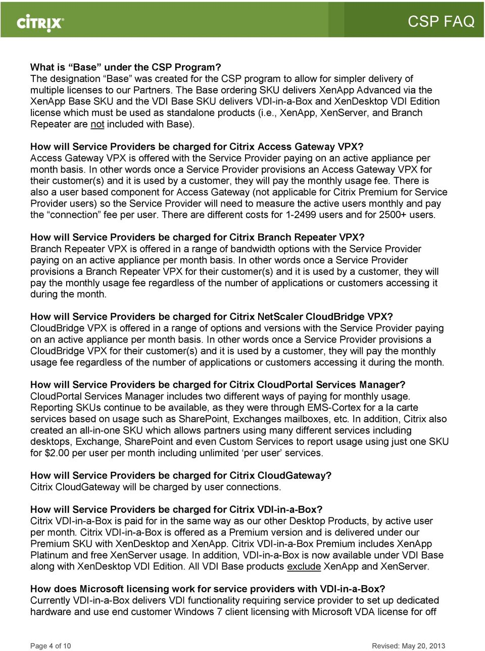 Citrix Service Provider Program Frequently Asked Questions - PDF