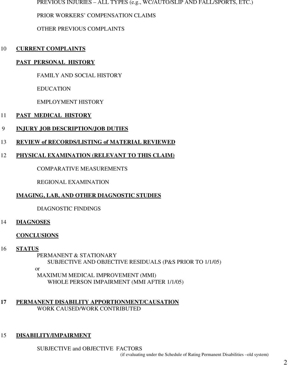 DESCRIPTION/JOB DUTIES 13 REVIEW of RECORDS/LISTING of MATERIAL REVIEWED 12  PHYSICAL EXAMINATION