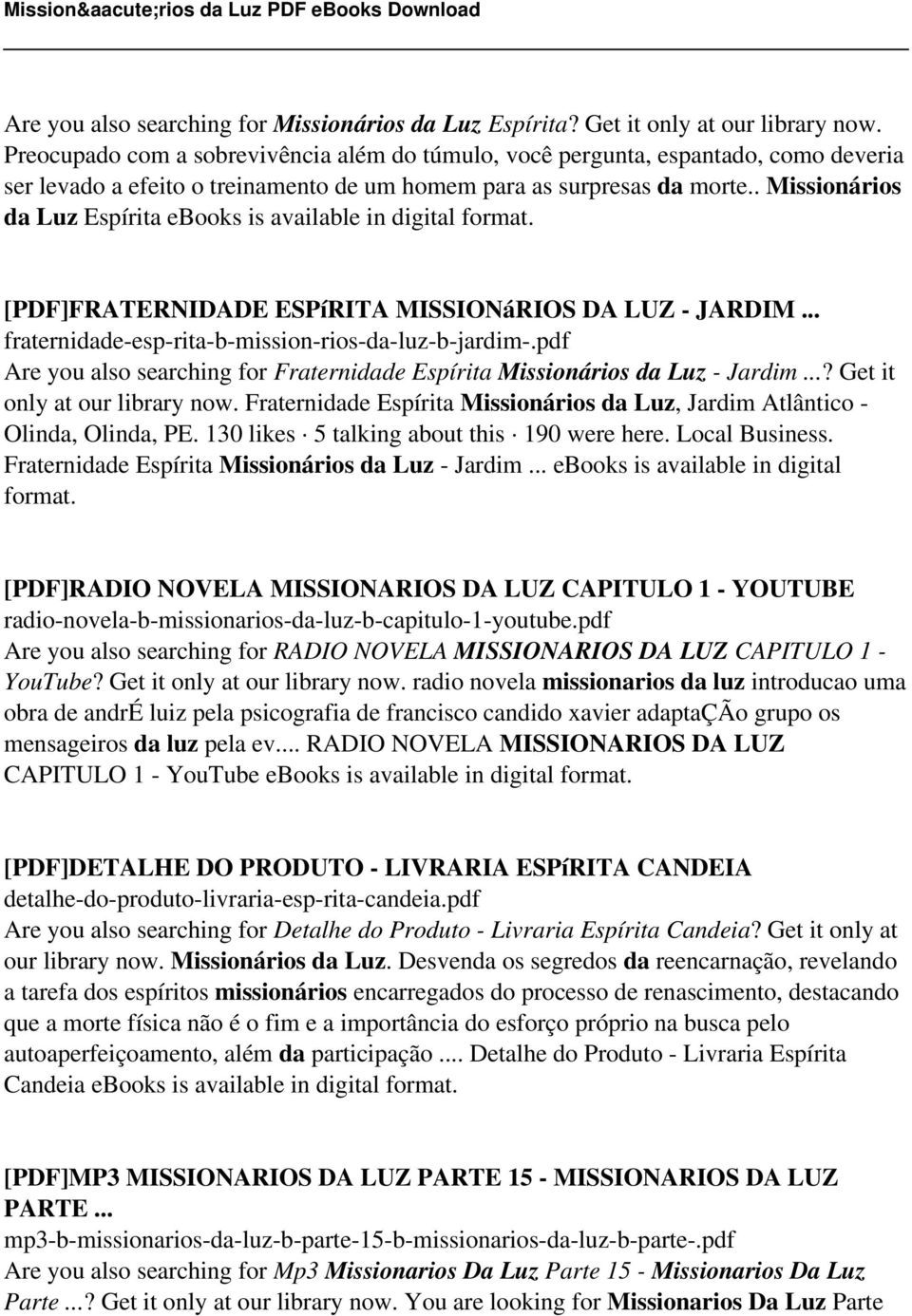 Missionrios da luz pdf pdf missionrios da luz esprita ebooks is available in digital format pdf fraternidade fandeluxe Choice Image