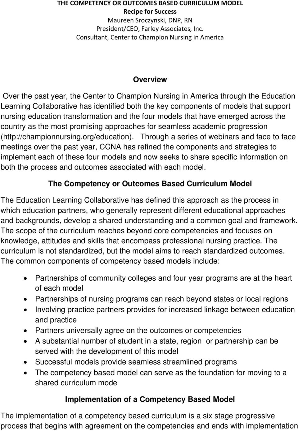 components of models that support nursing education transformation and the four models that have emerged across the country as the most promising approaches for seamless academic progression