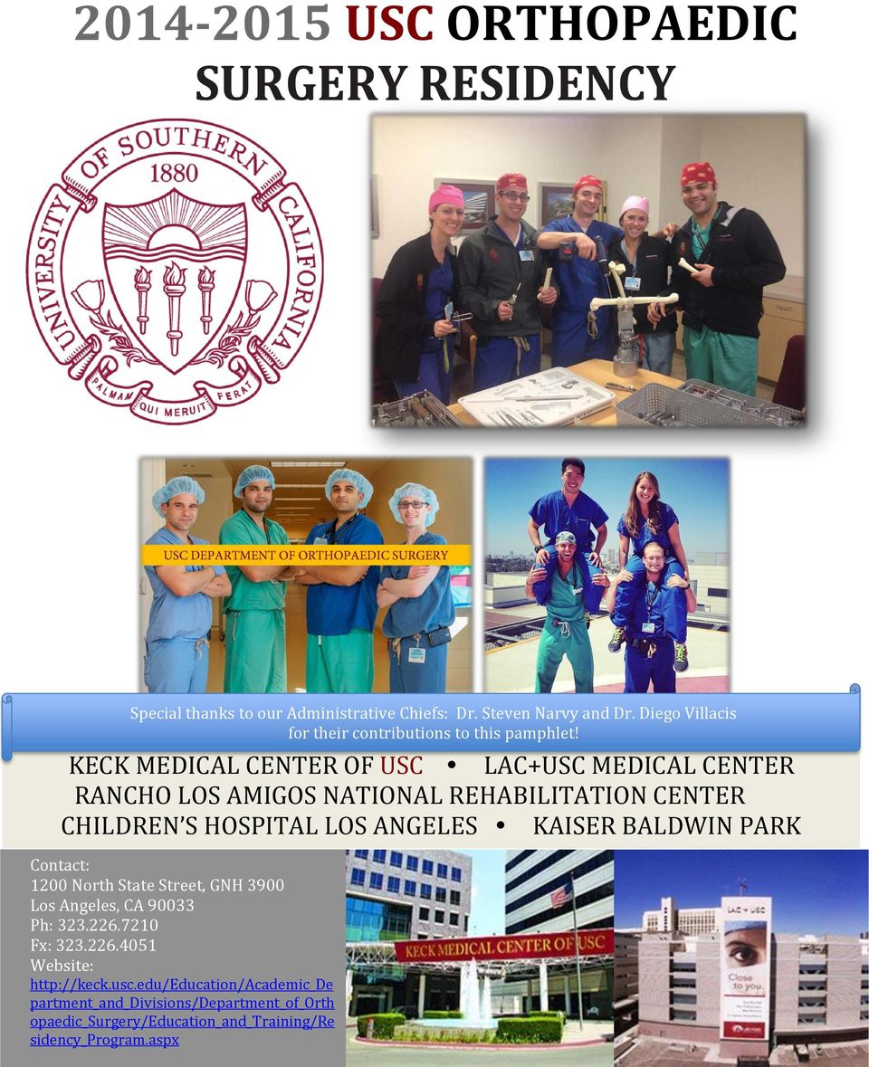USC ORTHOPAEDIC SURGERY RESIDENCY - PDF
