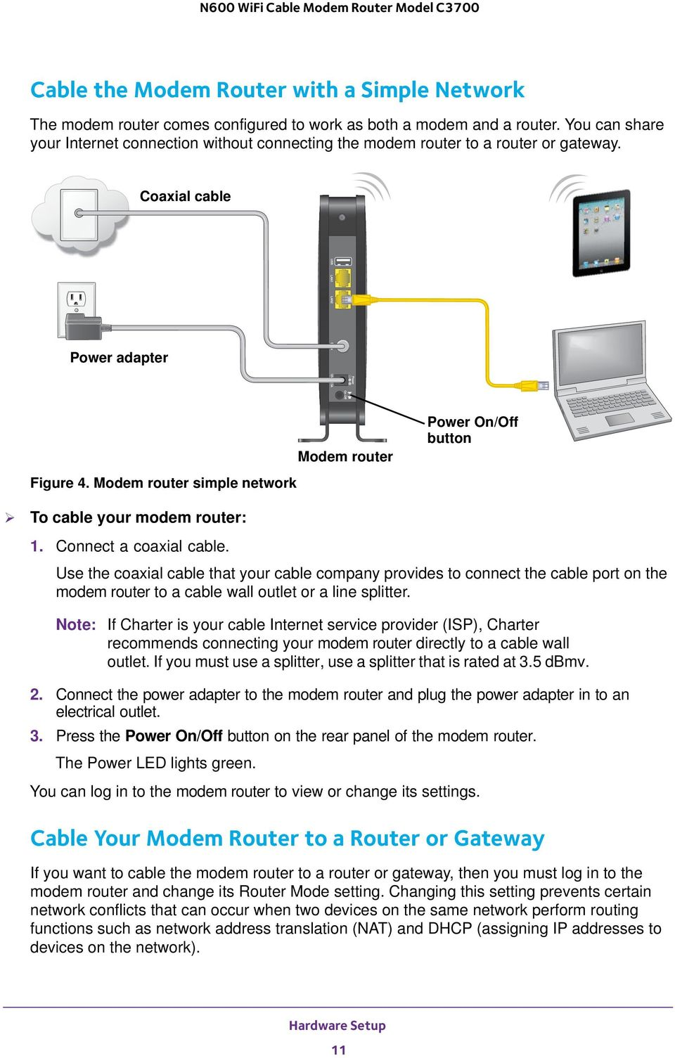 N600 WiFi Cable Modem Router Model C3700 User Manual - PDF