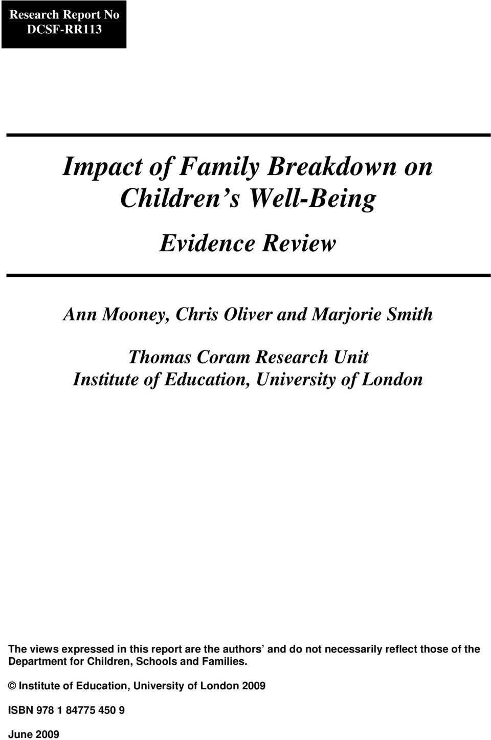 Report Family Well Being Education >> Impact Of Family Breakdown On Children S Well Being Pdf