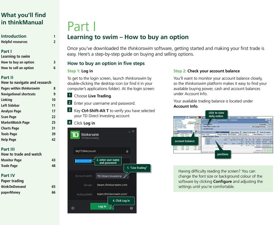 thinkmanual User Companion for thinkorswim What you ll find