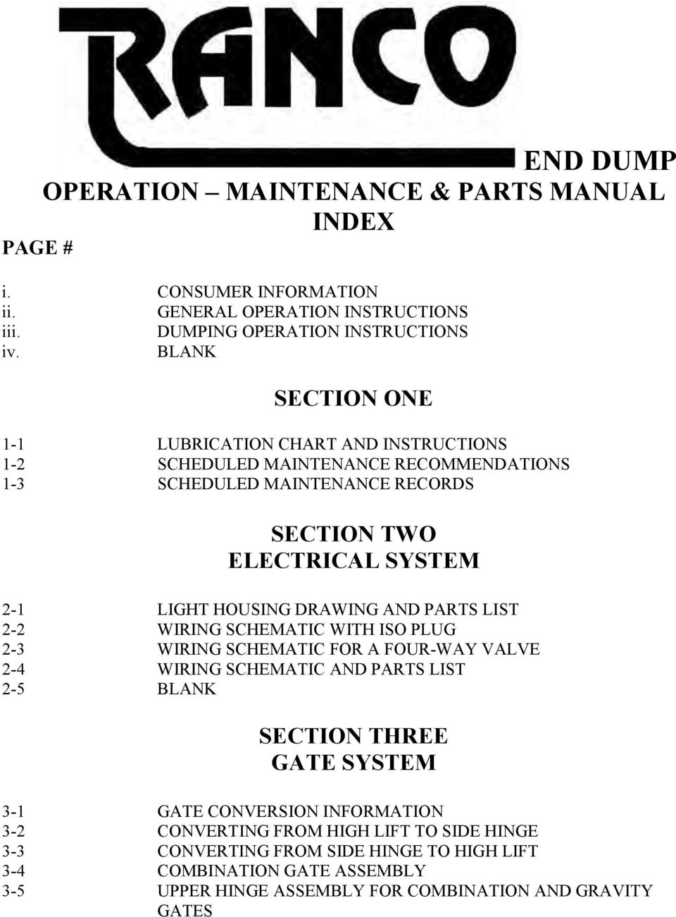 END DUMP OPERATION MAINTENANCE & PARTS MANUAL INDEX PAGE # - PDF Ranco Bottom Dump Wiring Diagrams on