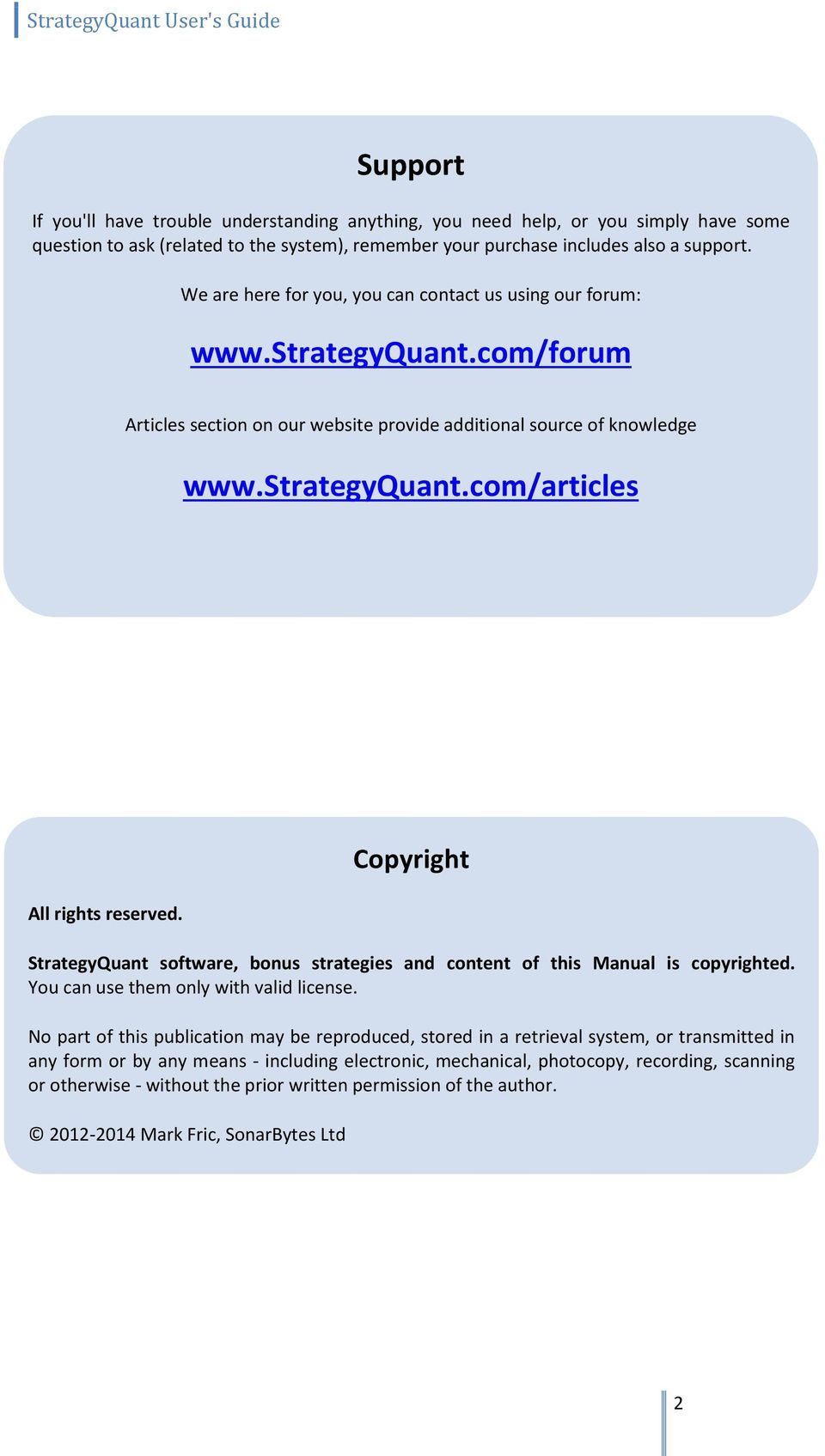 StrategyQuant  User's Guide - PDF