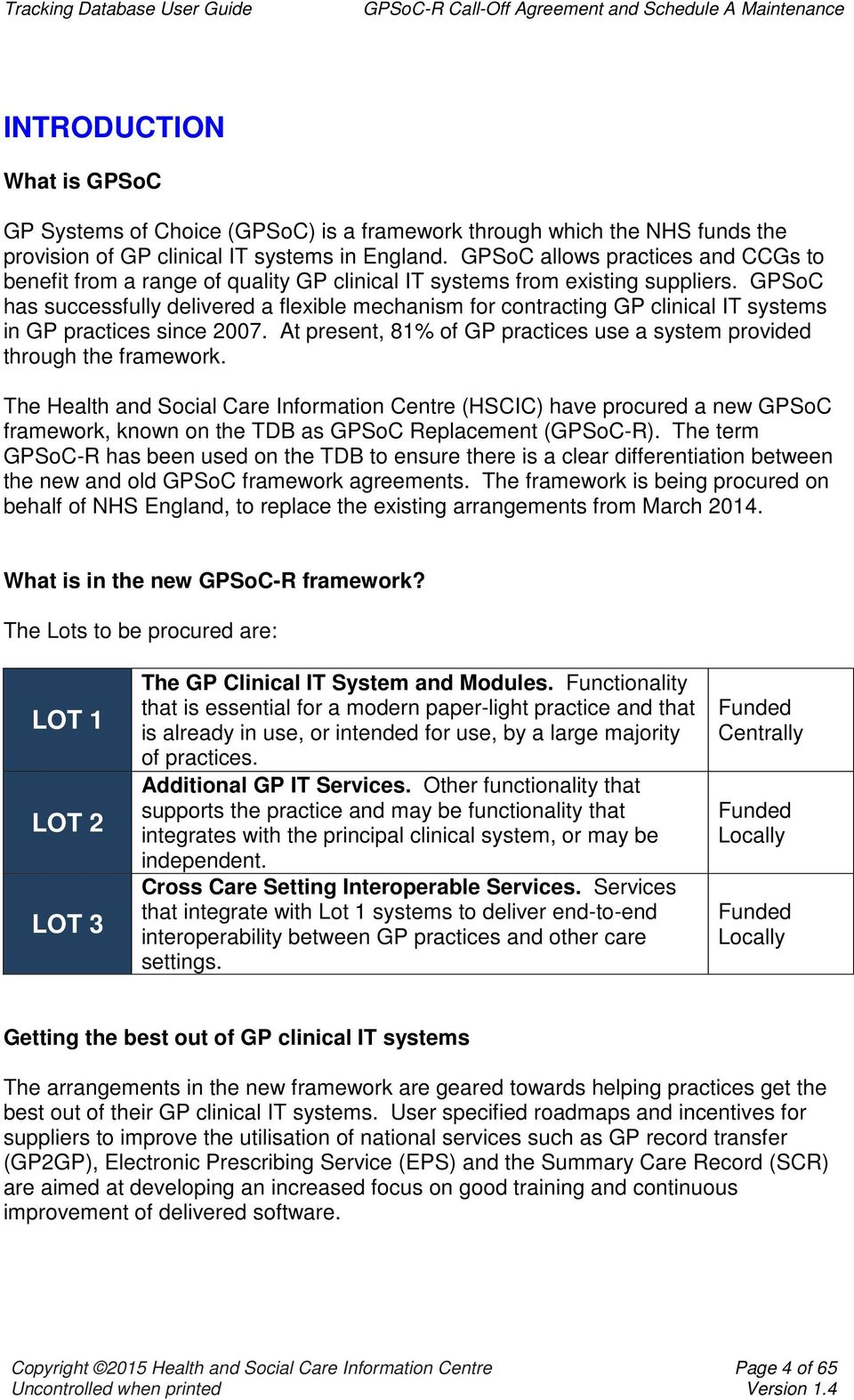 Tracking Database Gpsoc Replacement Gpsoc R Call Off Agreement And