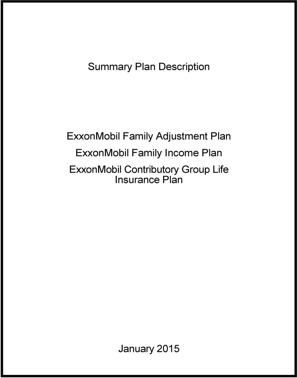 Family Income Plan ExxonMobil