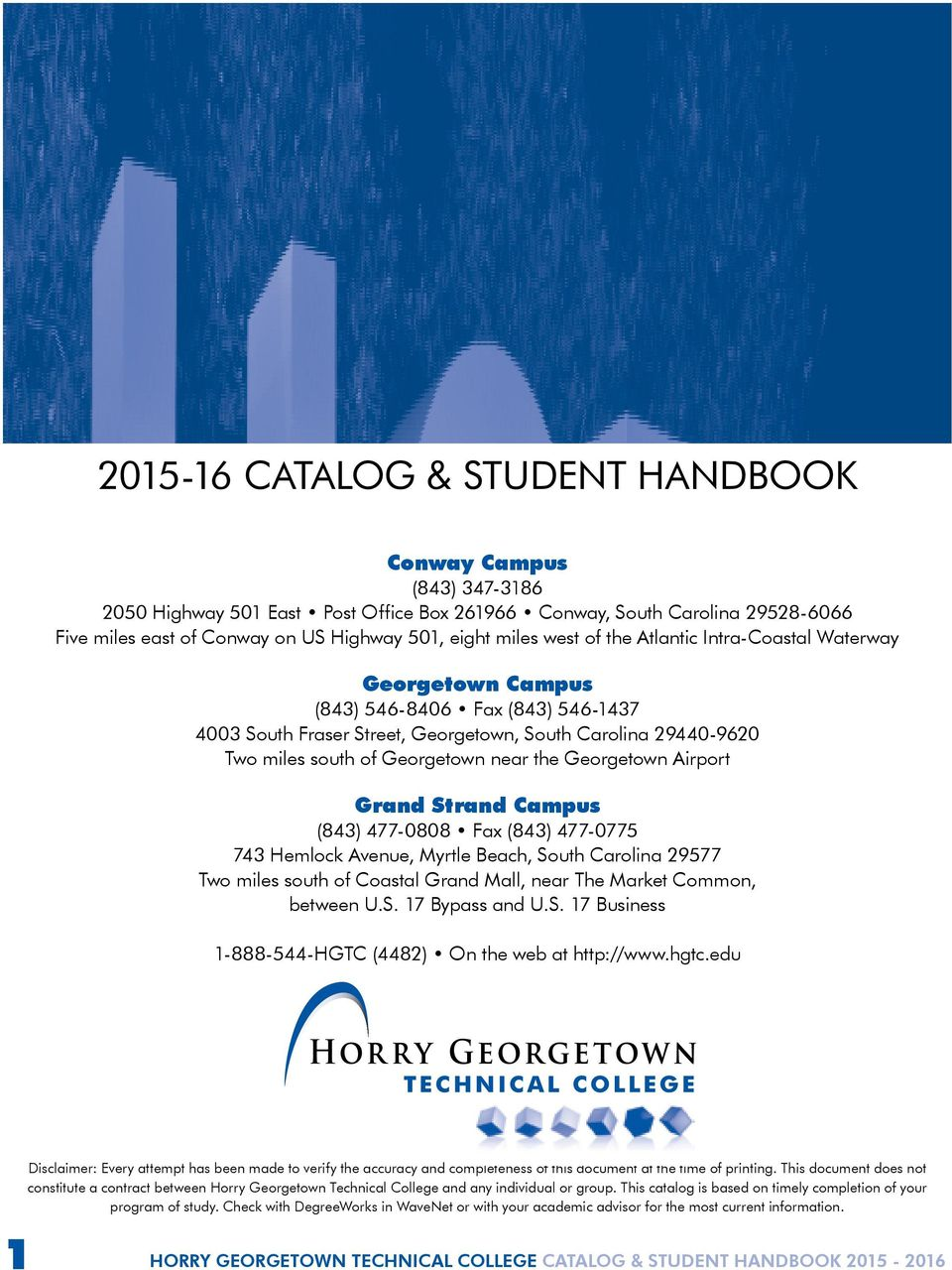 Hgtc Grand Strand Campus Map.Catalog Student Handbook Pdf