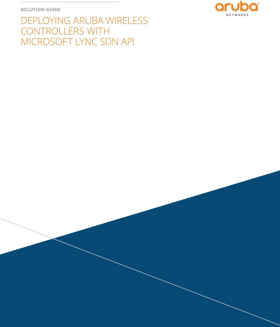solution guide Deploying Aruba Wireless Controllers with - PDF