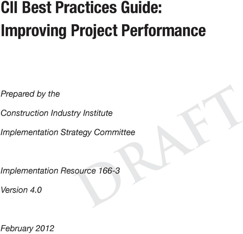 CII Best Practices Guide: Improving Project Performance - PDF