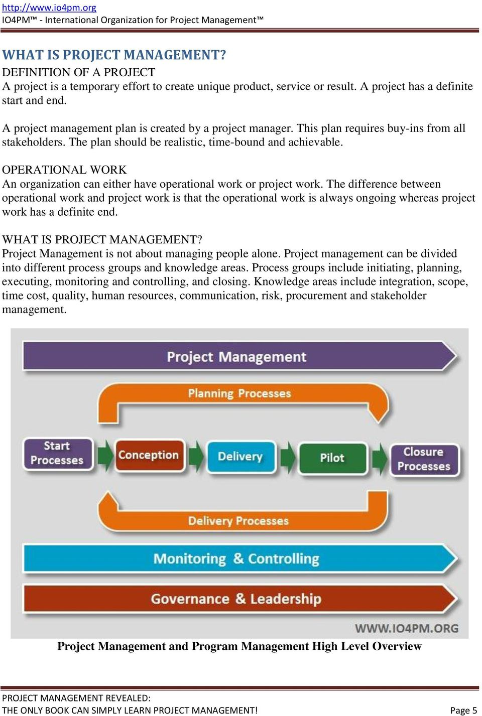 OPERATIONAL WORK An organization can either have operational work or project work.