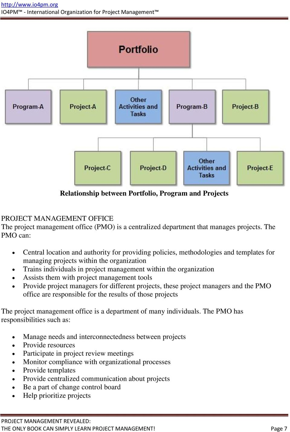 organization Assists them with project management tools Provide project managers for different projects, these project managers and the PMO office are responsible for the results of those projects