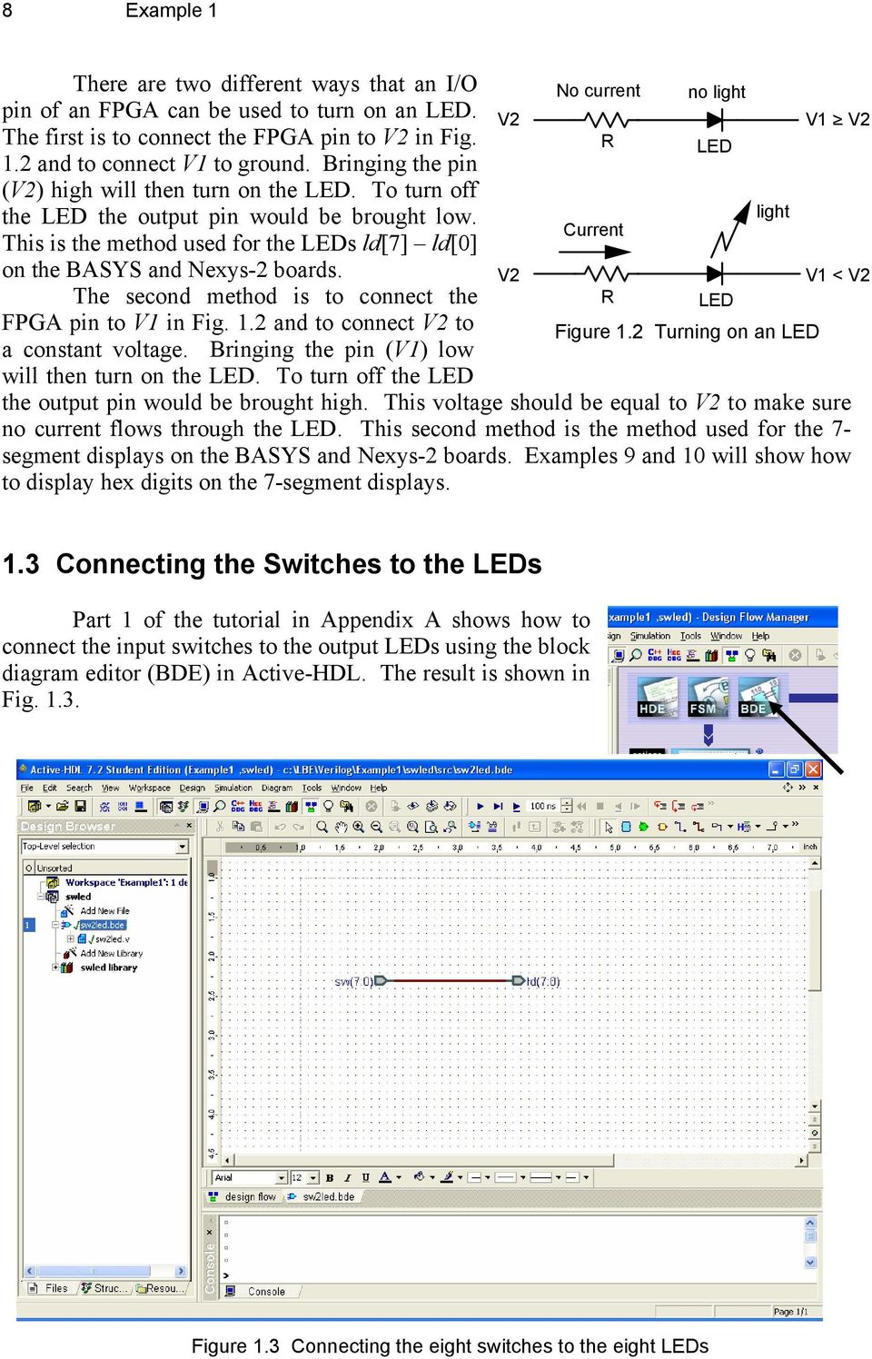 Introduction To Digital Design Using Digilent Fpga Boards Block Vhdl Diagram Free Download Wiring Schematic Light Current This Is The Method Used For Leds Ld7 Ld