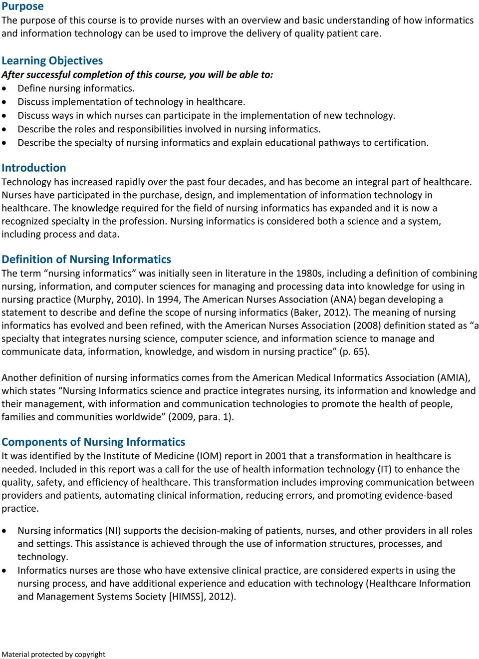 Nursing Informatics The Future Is Here Pdf