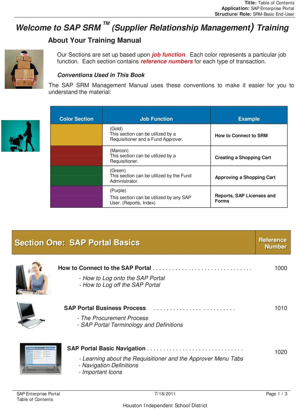 Conventions Used in This Book The SAP SRM Management Manual uses these  conventions to make it