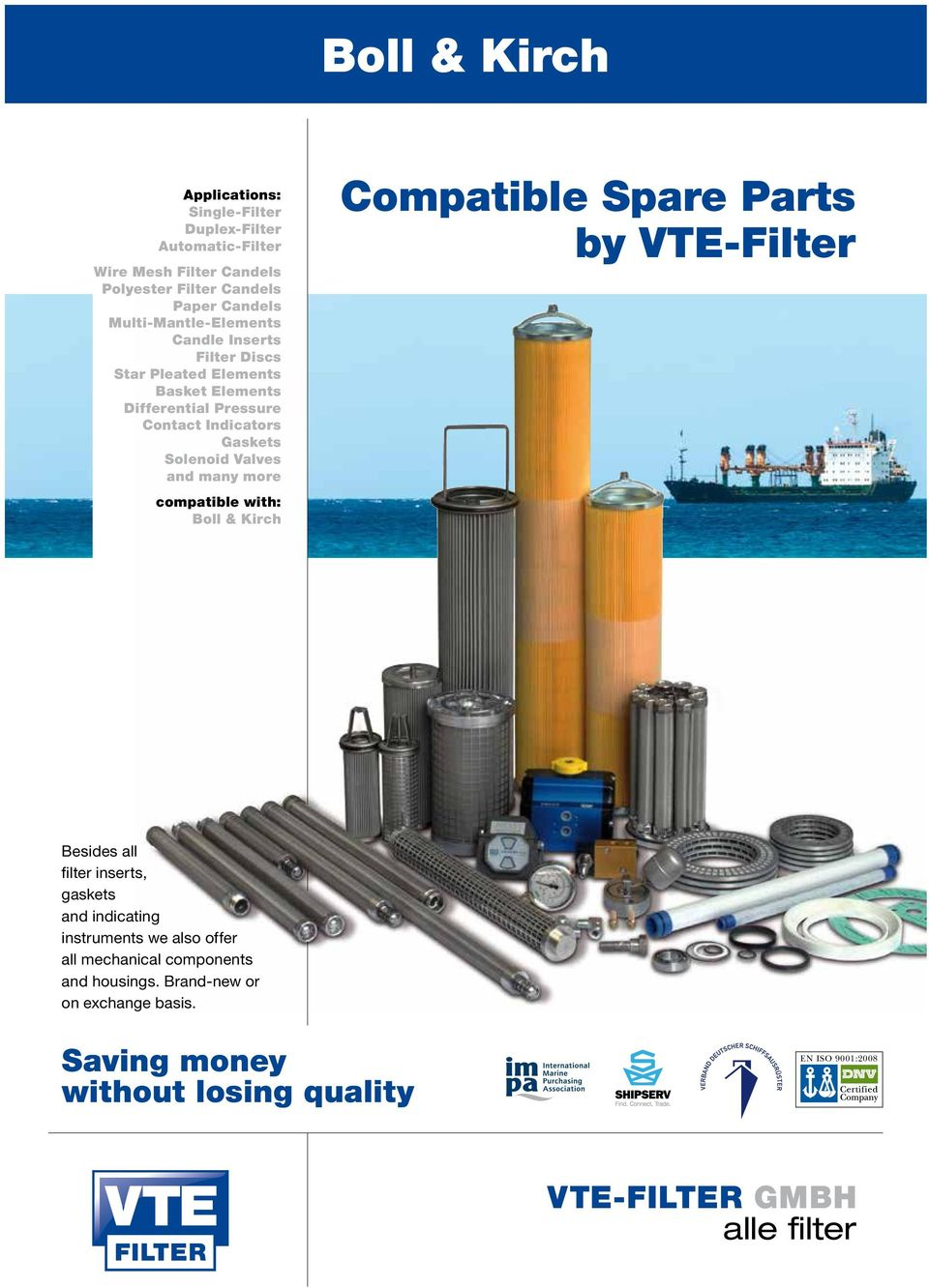 Compatible Spare Parts For Fueland Lube Oil Filter Pdf Peco Fuel Filters Contact Indicators Gaskets Solenoid Valves With Boll Kirch By Vte