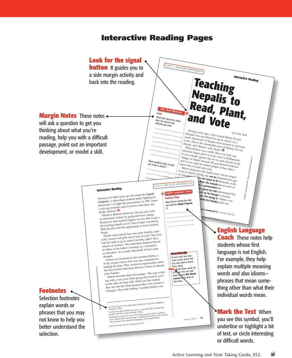 Active Learning and Note Taking Guide, ELL xi. out an important  development, or model a skill. Footnotes Selection footnotes explain words  or