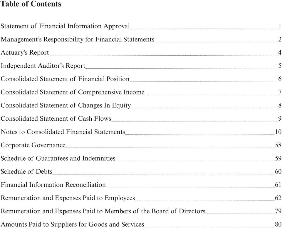 Flows 9 Notes to Consolidated Financial Statements 10 Corporate Governance 58 Schedule of Guarantees and Indemnities 59 Schedule of Debts 60 Financial Information