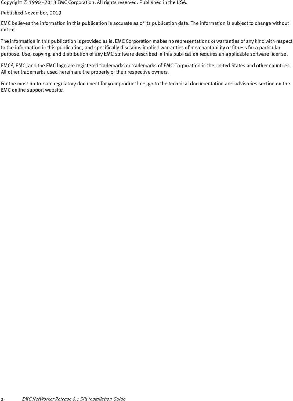 EMC NetWorker  Installation Guide  Release 8 1 Service Pack 1 P/N