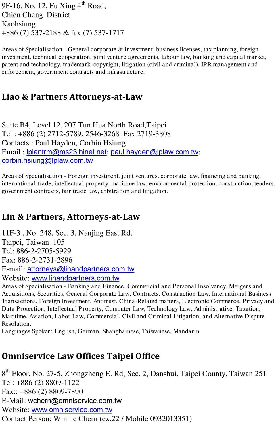 LIST OF LAWYERS AND LAW FIRMS IN TAIWAN - PDF