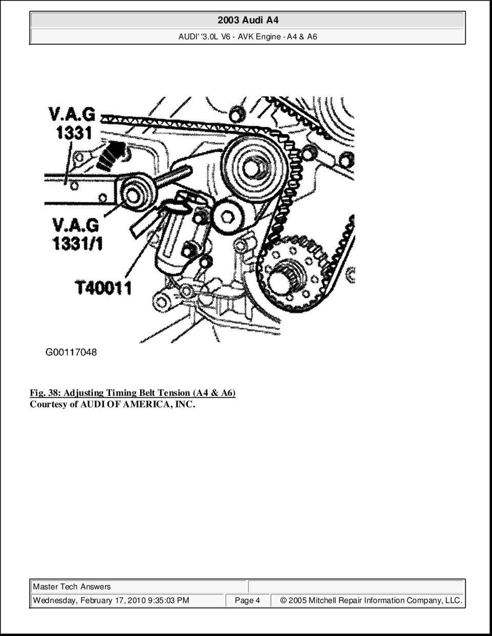 2003 Audi A4 30l V6 Avk Engine A6 Pdf 2005 3 2 Timing February 17 2010 93503 Pm Page 4