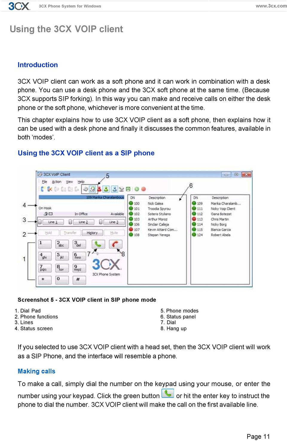User Manual  3CX VOIP client / Soft phone Version PDF