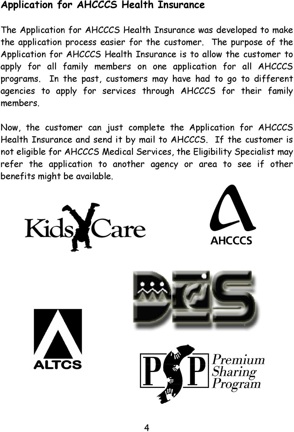 Instructions for AHCCCS Health Insurance Application and Forms ... on