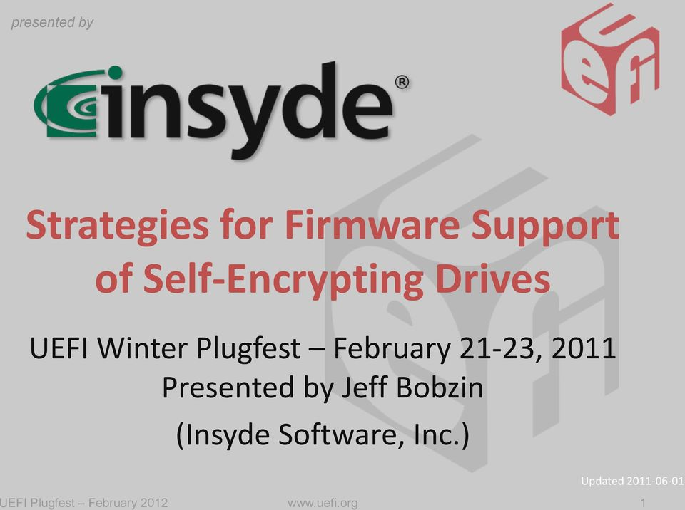 Strategies for Firmware Support of Self-Encrypting Drives - PDF