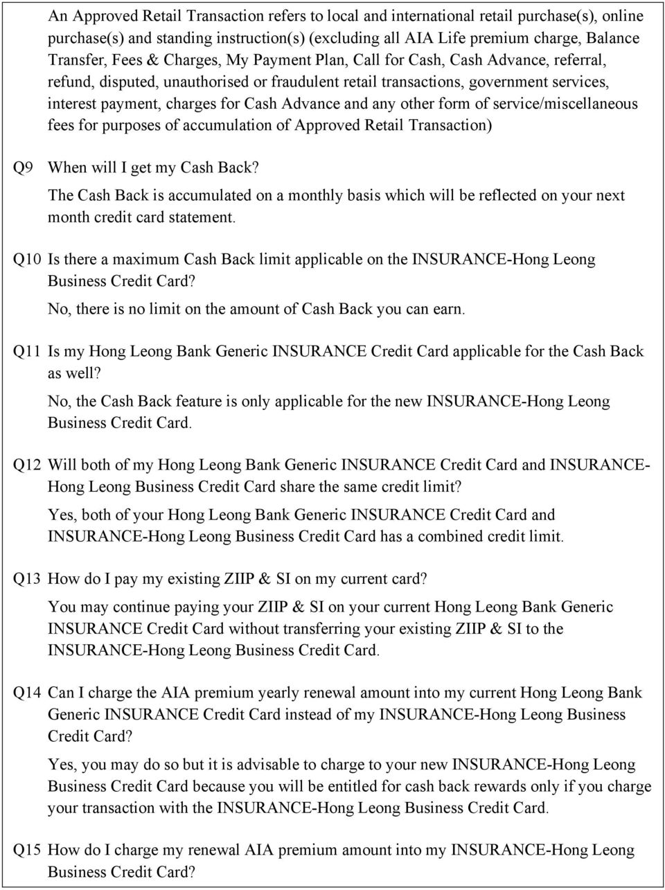 Insurance Hong Leong Business Credit Card Cash Back Features