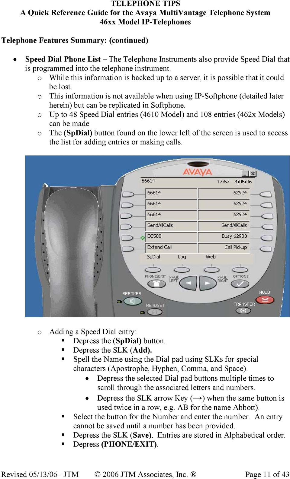 TELEPHONE TIPS  A Quick Reference Guide for the Avaya