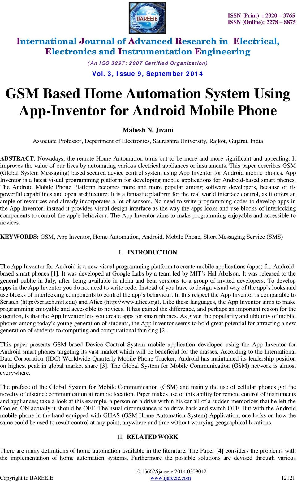 GSM Based Home Automation System Using App-Inventor for