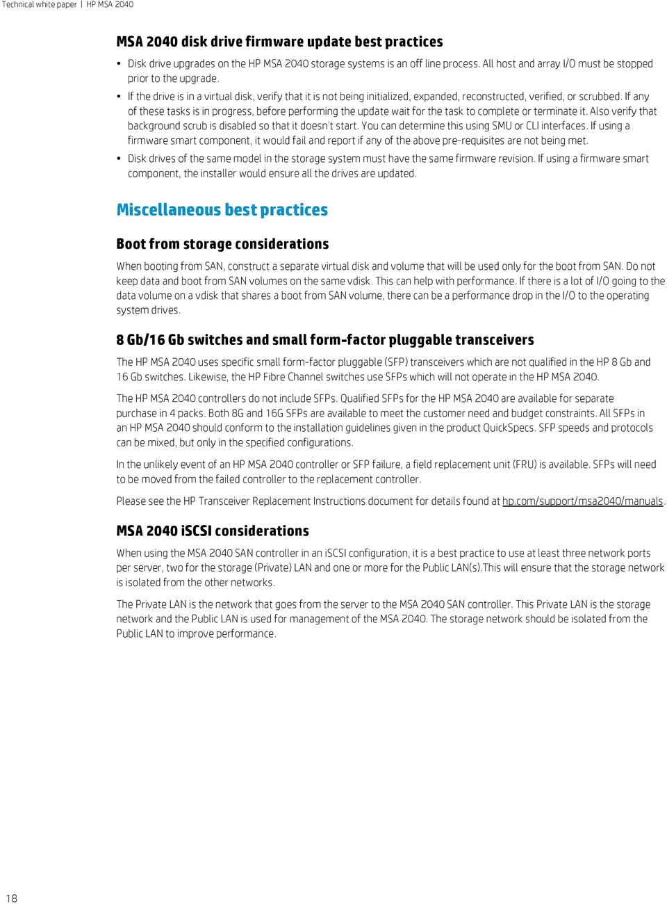 HP MSA Table of contents  Best practices  Technical white