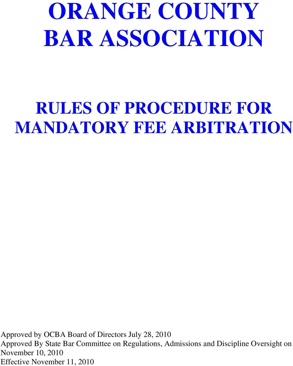 Approved By State Bar Committee on Regulations, Admissions and