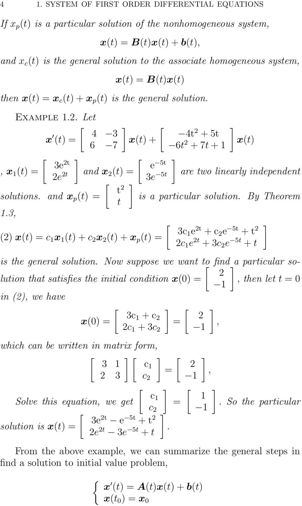 System of First Order Differential Equations - PDF