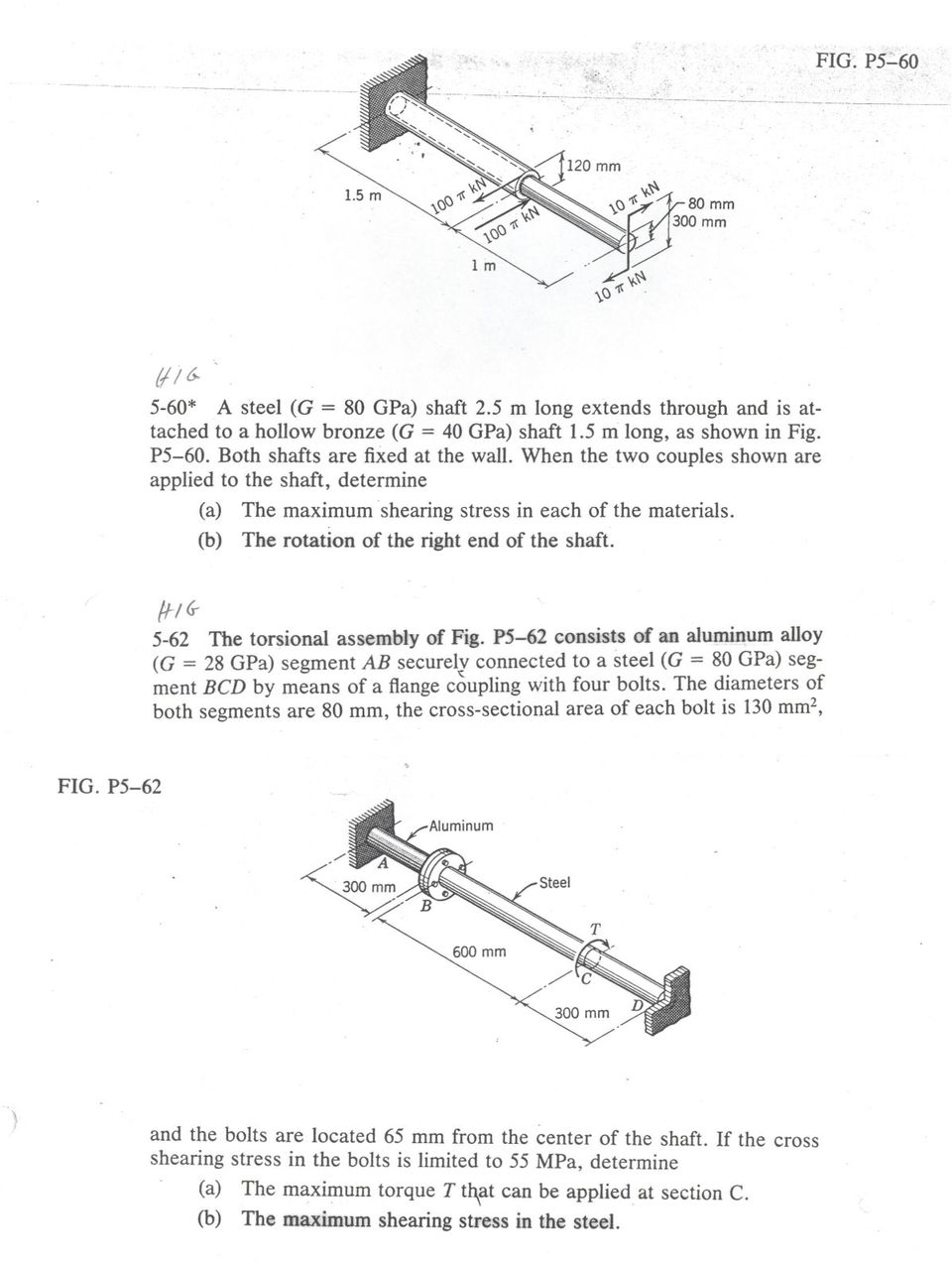 5-58  The two shafts are made of A-36 steel  Each has a