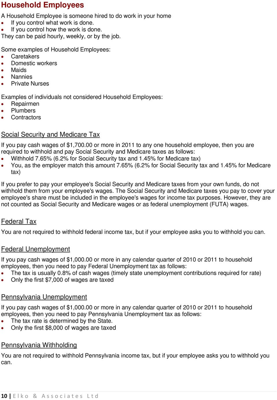 Employers Guide. Summary of Payroll Tax Guidelines - PDF
